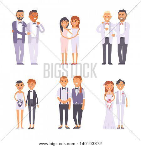 Wedding gay couples vector set.