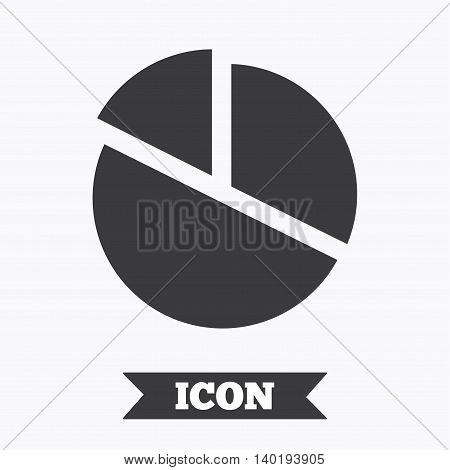 Pie chart graph sign icon. Diagram button. Graphic design element. Flat pie chart symbol on white background. Vector