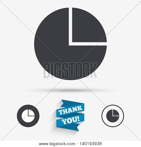 Pie chart graph sign icon. Diagram button. Flat icons. Buttons with icons. Thank you ribbon. Vector