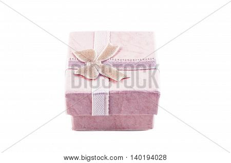 Classic pink color paper small gift box for present wrapping with white background