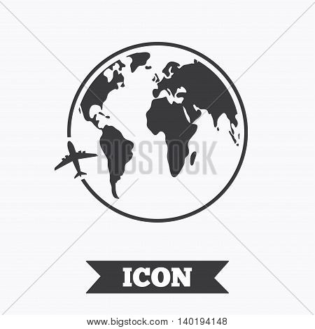 Airplane sign icon. Travel trip round the world symbol. Graphic design element. Flat airplane travel symbol on white background. Vector