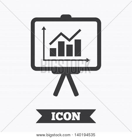 Presentation billboard sign icon. Scheme and Diagram symbol. Graphic design element. Flat presentation symbol on white background. Vector