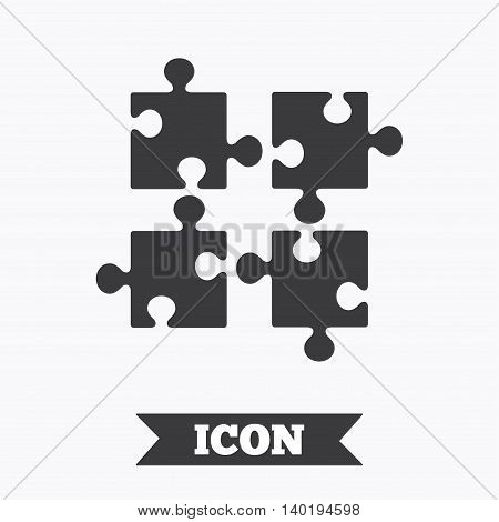 Puzzles pieces sign icon. Strategy symbol. Ingenuity test game. Graphic design element. Flat puzzle symbol on white background. Vector