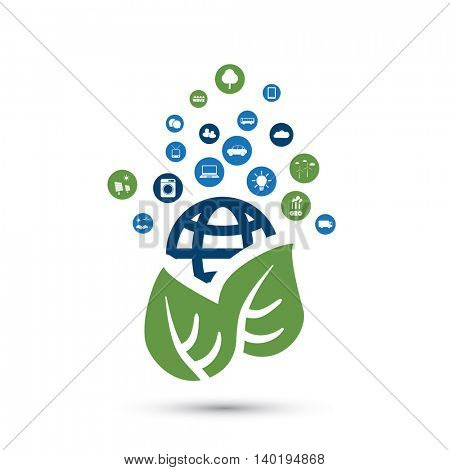 Green Eco Friendly World Concept with Icons - Illustration in Editable Vector Format