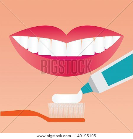 Beautiful smiling mouth with beautiful healthy teeth with Toothbrush and Toothpaste Brushing Teeth care concept Flat vector illustration.