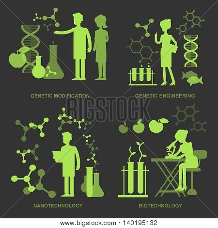 Concept for Biotechnology, genetic engineering, nanotechnology. Men and woman scientis, laboratory technician looking through a microscope.
