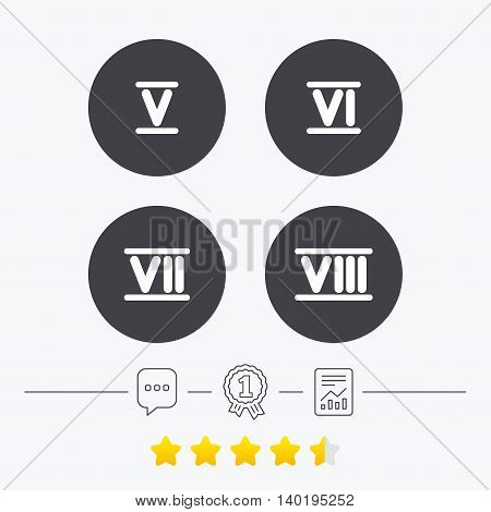 Roman numeral icons. 5, 6, 7 and 8 digit characters. Ancient Rome numeric system. Chat, award medal and report linear icons. Star vote ranking. Vector