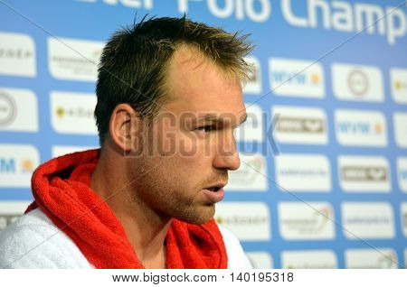 Budapest Hungary - Jul 14 2014. Viktor Nagy (Hungary) goalkeeper talking after Spain-Hungary preliminary match. The Waterpolo European Championship was held in Alfred Hajos Swimming Centre in 2014.