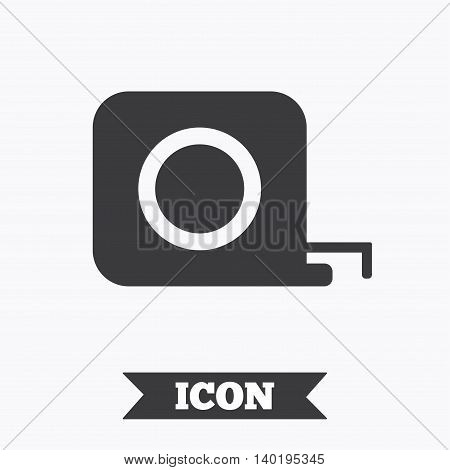Roulette construction sign icon. Tape measure symbol. Graphic design element. Flat tape measure symbol on white background. Vector
