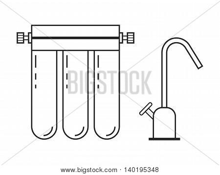 Water filter. Flat linear icon and object. Water purification. Vector illustration