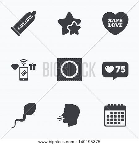Safe sex love icons. Condom and package symbol. Sperm sign. Fertilization or insemination. Flat talking head, calendar icons. Stars, like counter icons. Vector