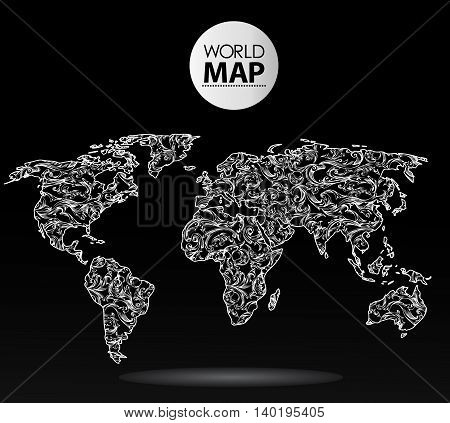 Modern elements of info graphics. Calligraphic World Map