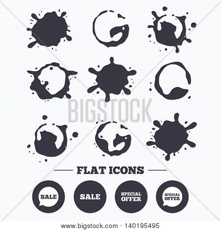 Paint, coffee or milk splash blots. Sale icons. Special offer speech bubbles symbols. Shopping signs. Smudges splashes drops. Vector