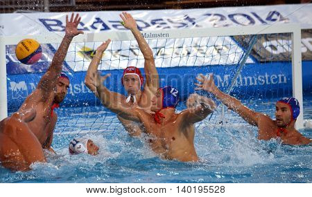 Budapest Hungary - Jul 14 2014. Russian team defends at the goal line. The Waterpolo European Championship was held in Alfred Hajos Swimming Centre in 2014.
