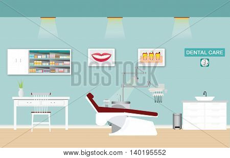 Dental care clinic or dentist office interior with medical dental arm-chair table and poster vector illustration.