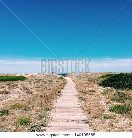 Boardwalk on the  Valencia beach, Spain
