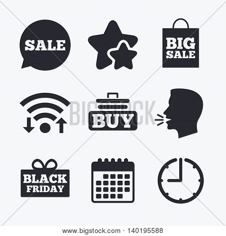 Sale speech bubble icons. Buy cart symbols. Black friday gift box signs. Big sale shopping bag. Wifi internet, favorite stars, calendar and clock. Talking head. Vector