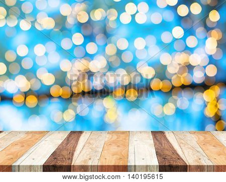 Empty Perspective Tropical Wooden Table With Blue Bokeh Wall ,template Mock Up For Display Of Your P