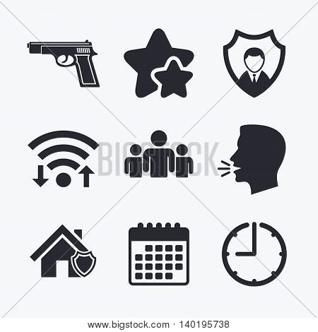 Security agency icons. Home shield protection symbols. Gun weapon sign. Group of people or Share. Wifi internet, favorite stars, calendar and clock. Talking head. Vector
