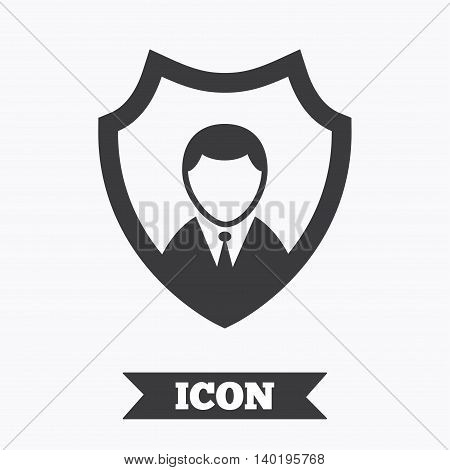 Security agency sign icon. Shield protection symbol. Graphic design element. Flat protection symbol on white background. Vector