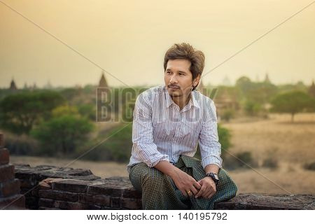 Portrait of Asian traditional handsome men Bagan Myanmar
