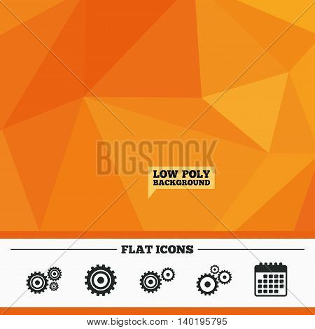 Triangular low poly orange background. Cogwheel gear icons. Mechanism symbol. Website or App settings sign. Working process performance. Calendar flat icon. Vector