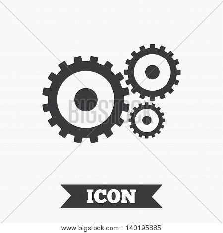 Cog settings sign icon. Cogwheel gear mechanism symbol. Graphic design element. Flat service symbol on white background. Vector