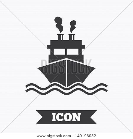 Ship or boat sign icon. Shipping delivery symbol. Smoke from chimneys or pipes. Graphic design element. Flat shipment symbol on white background. Vector