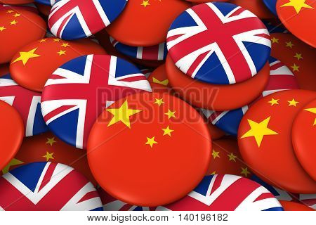 China And Uk Badges Background - Pile Of Chinese And British Flag Buttons 3D Illustration