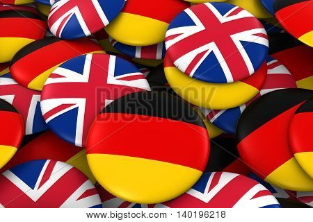 Germany And Uk Badges Background - Pile Of German And British Flag Buttons 3D Illustration