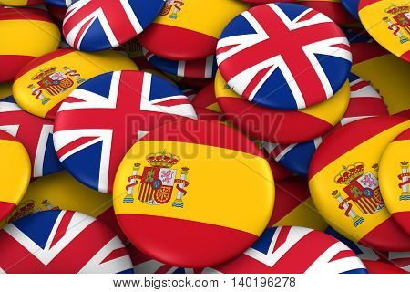 Spain And Uk Badges Background - Pile Of Spanish And British Flag Buttons 3D Illustration
