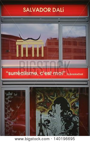 BERLIN, GERMANY - JUNE 21: The picture and logo decorated showcase of the art exhibition