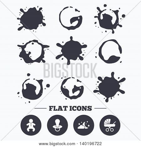Paint, coffee or milk splash blots. Moon and stars symbol. Baby infants icon. Buggy and dummy signs. Child pacifier and pram stroller. Smudges splashes drops. Vector