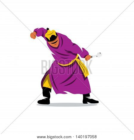 Man in traditional dress fist break a bone. Isolated on a White Background