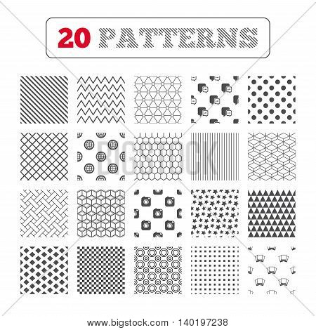 Ornament patterns, diagonal stripes and stars. Social media icons. Chat speech bubble and world globe symbols. Hipster photo camera sign. Photo frames. Geometric textures. Vector