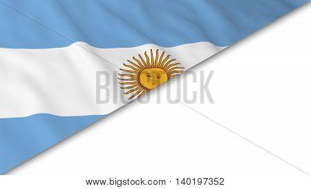 Argentinian Flag Corner Overlaid On White Background - 3D Illustration