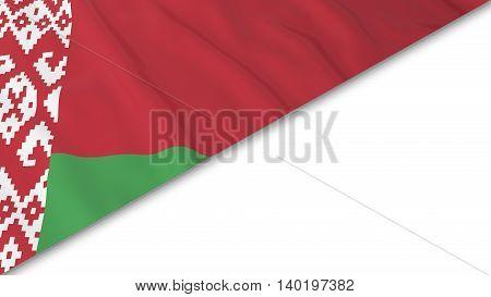 Belarusian Flag Corner Overlaid On White Background - 3D Illustration