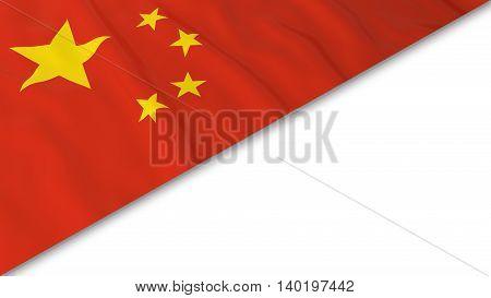 Chinese Flag Corner Overlaid On White Background - 3D Illustration