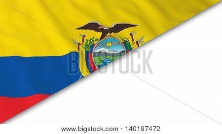 Ecuadorian Flag Corner Overlaid On White Background - 3D Illustration
