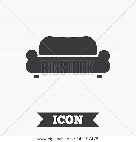 Comfortable sofa sign icon. Modern couch furniture symbol. Graphic design element. Flat sofa symbol on white background. Vector