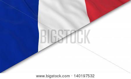 French Flag Corner Overlaid On White Background - 3D Illustration