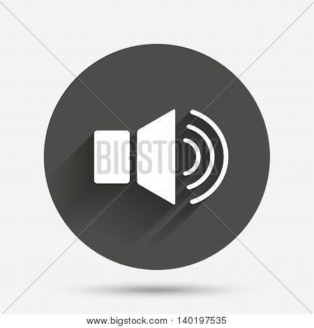 Speaker volume sign icon. Sound symbol. Circle flat button with shadow. Vector