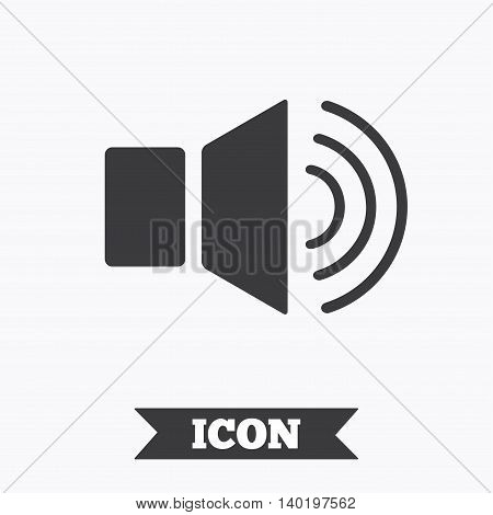Speaker volume sign icon. Sound symbol. Graphic design element. Flat sound symbol on white background. Vector