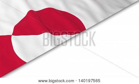 Greenlandic Flag Corner Overlaid On White Background - 3D Illustration