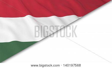 Hungarian Flag Corner Overlaid On White Background - 3D Illustration