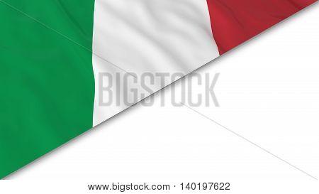Italian Flag Corner Overlaid On White Background - 3D Illustration