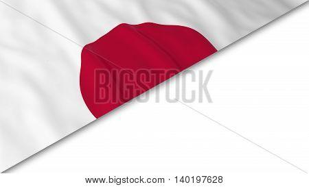 Japanese Flag Corner Overlaid On White Background - 3D Illustration