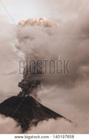Tungurahua Volcano Intense Strombolian Activity Ecuador South America