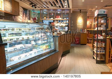 SHENZHEN, CHINA - CIRCA MAY, 2016: inside of Costa Coffee. Costa Coffee is a British multinational coffeehouse company. It is the second largest coffeehouse chain in the world behind Starbucks.