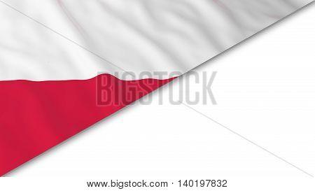 Polish Flag Corner Overlaid On White Background - 3D Illustration